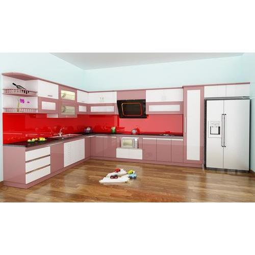 Tủ bếp gỗ chữ L 3D đẹp
