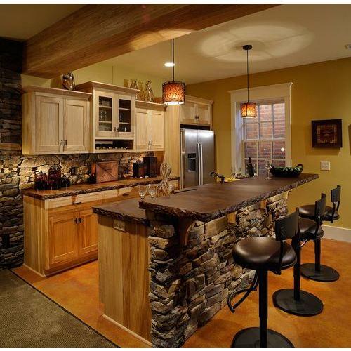 Tủ bếp gỗ chữ I có quầy bar phủ Laminate