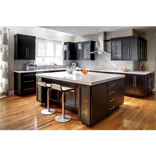 Tủ bếp gỗ chữ L có quầy bar