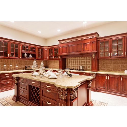 Tủ bếp gỗ chữ L đẹp tiện nghi