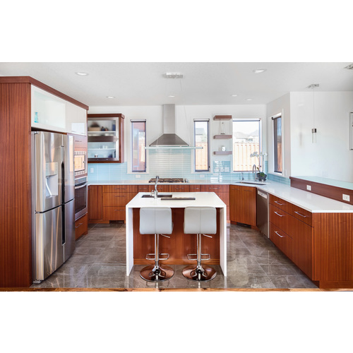 Tủ bếp gỗ chữ U Acrylic có bàn đảo