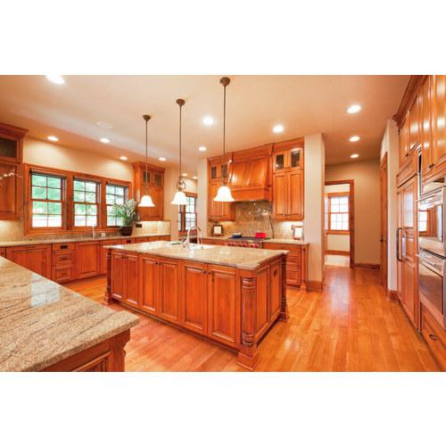 Tủ bếp gỗ tự nhiên phủ sơn có đảo bếp