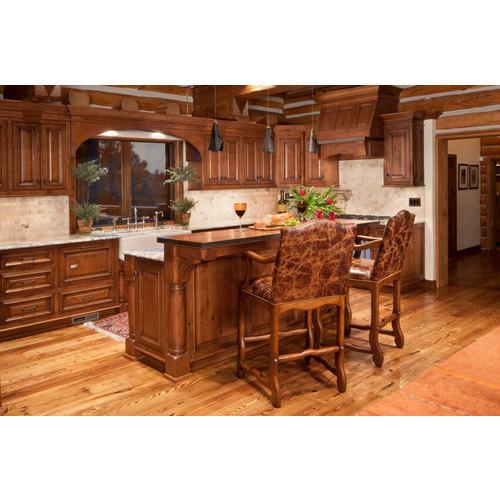 Tủ bếp gỗ tự nhiên chữ U có bàn đảo đẹp