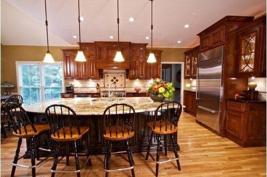 Tủ bếp gỗ sồi Mỹ có tủ lạnh đẹp, giá rẻ