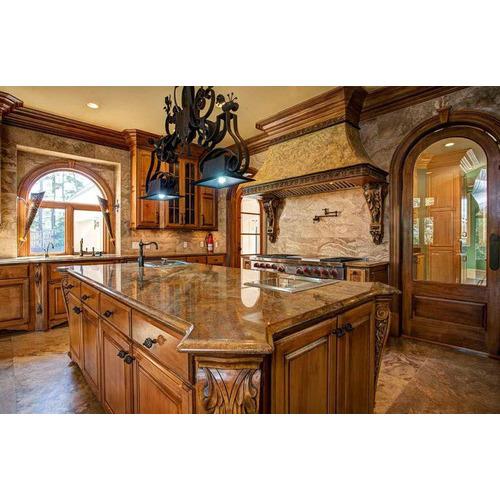 Tủ bếp gỗ sồi Mỹ cho gia đình sang trọng