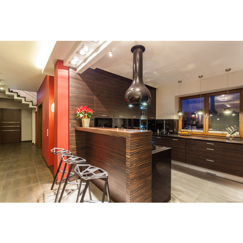 Tủ bếp gỗ chữ L có quầy bar cho bếp