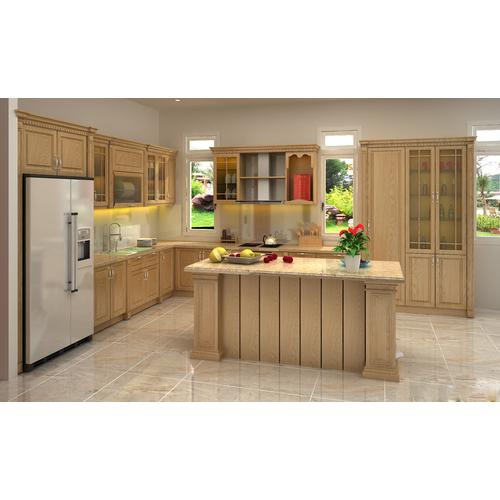 Tủ bếp gỗ chữ L cho phòng bếp gia đình