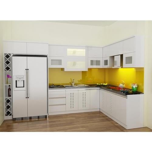 Tủ bếp gỗ chữ L Acrylic có tủ rượu