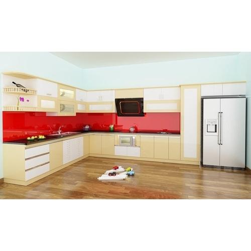 Tủ bếp gỗ chữ L phủ sơn