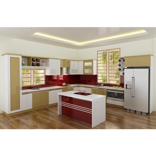 Tủ bếp gỗ chữ L phủ sơn có tủ rượu