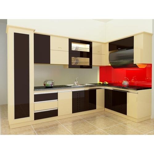 Tủ bếp gỗ chữ L cho căn hộ