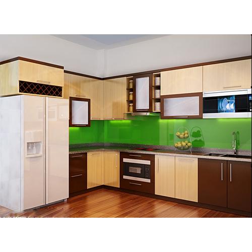 Tủ bếp gỗ chữ L Laminate có tủ rượu