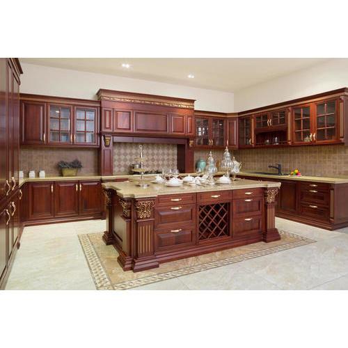 Bộ tủ bếp gỗ sồi Nga chữ L đẹp, cao cấp