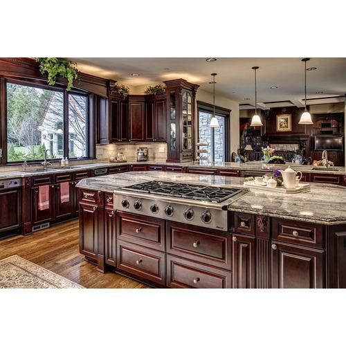 Tủ bếp gỗ xoan đào Lào đẹp, cao cấp