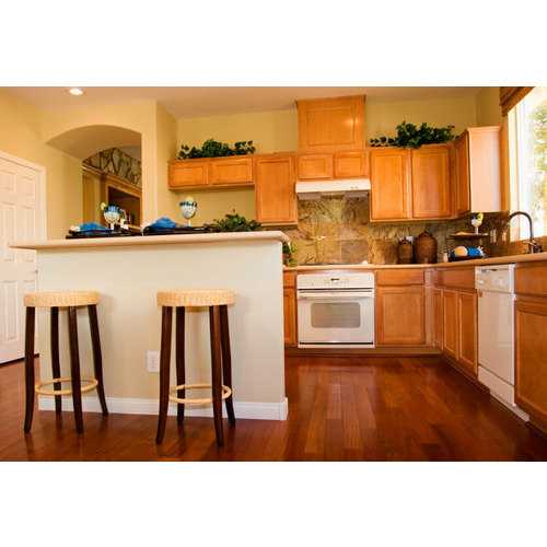 Bộ tủ bếp gỗ sồi Mỹ phủ Laminate đẹp