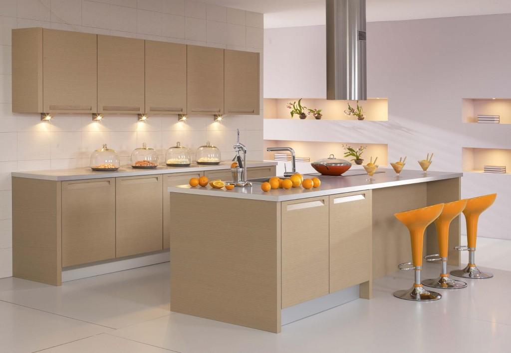 Tủ bếp PVC chữ I phủ Acrylic có bàn đảo