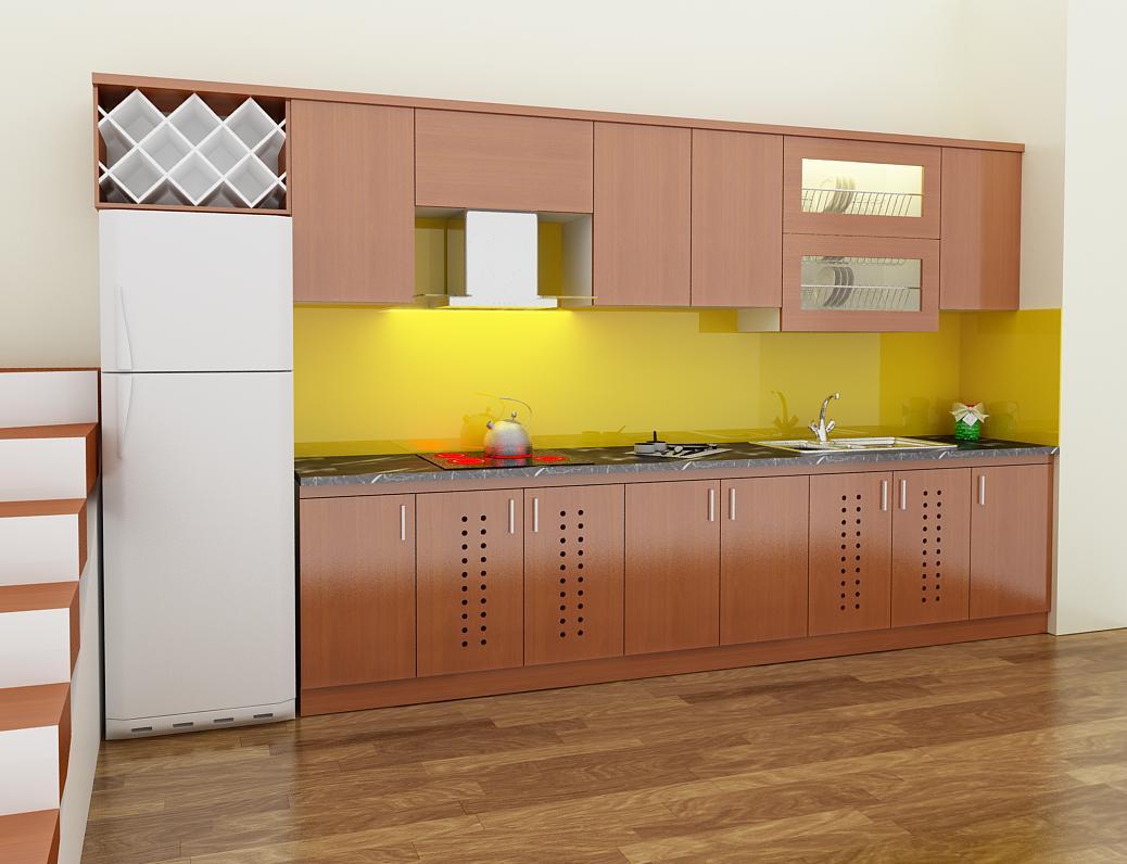 Tủ bếp PVC chữ I cho chung cư nhỏ