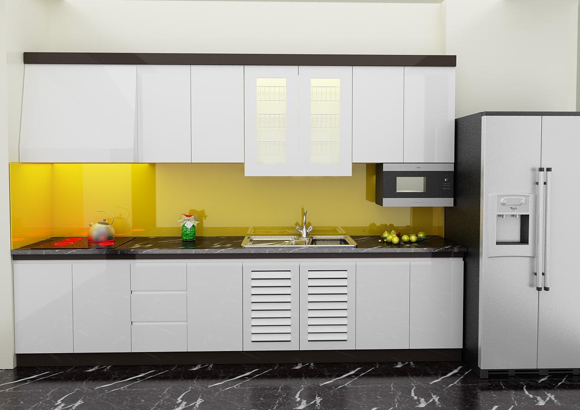 Tủ bếp PVC chữ I cho gia đình phủ sơn
