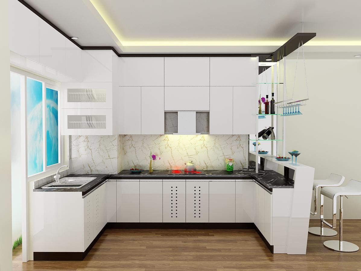 Tủ bếp gỗ chữ U Acrylic có tủ rượu