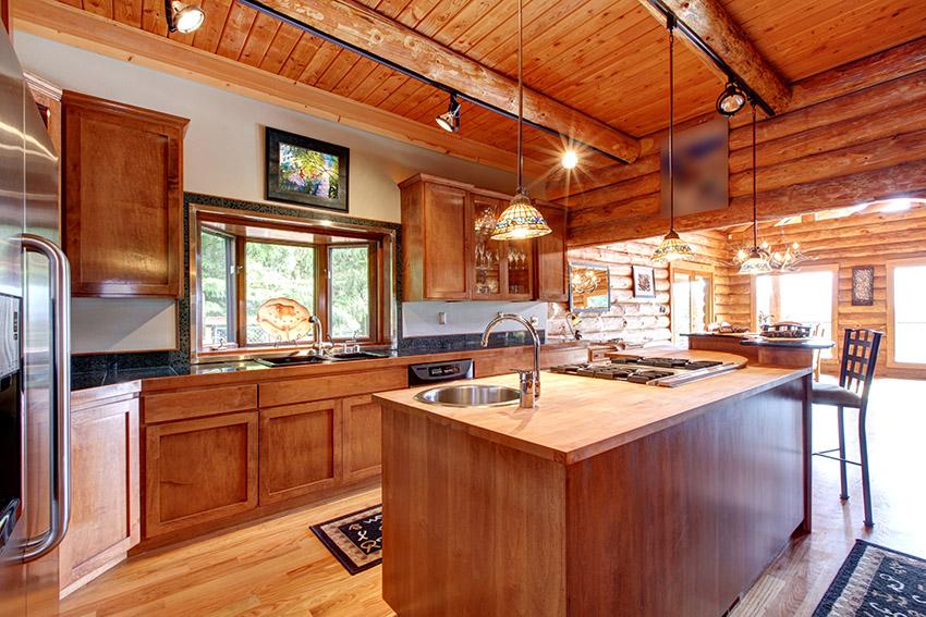 Tủ bếp gỗ sồi Mỹ cho chung cư đẹp, hiện đại
