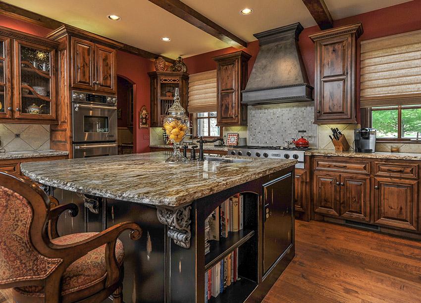 Tủ bếp gỗ sồi Mỹ chữ I đẹp, đơn giản