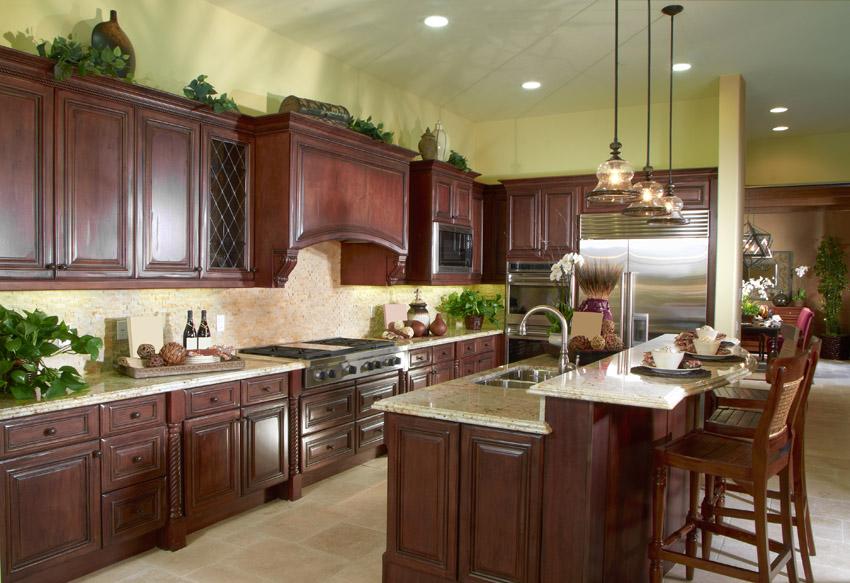 Tủ bếp gỗ xoan đào chữ I đẹp, tiện nghi