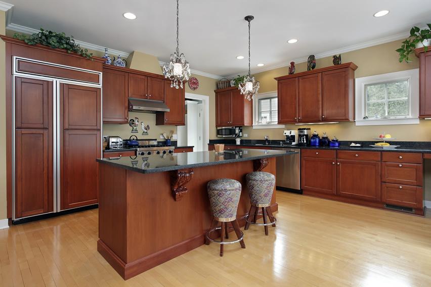 Tủ bếp gỗ sồi Mỹ chữ L đẹp cho gia đình