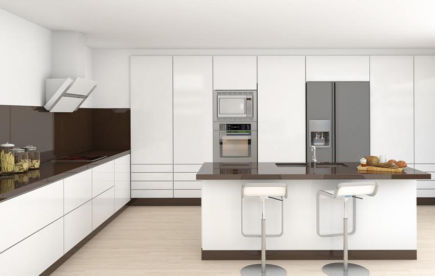 Tủ bếp gỗ chữ L Acrylic có bàn đảo