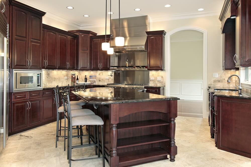 Tủ bếp gỗ sồi Mỹ cao cấp, sang trọng